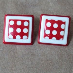 Retro Red White Polka Dots Square Pierced Earrings
